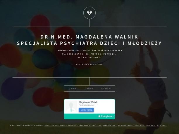 Psychiatra dziecięcy Katowice, dr n. med. Magdalena Walnik
